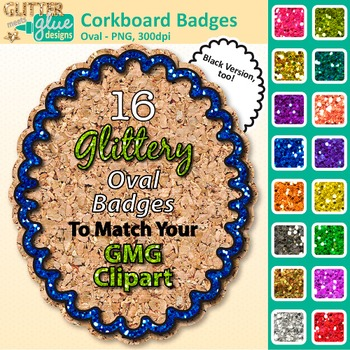 Corkboard Frame Clip Art {Oval Rainbow Glitter Labels for Worksheets}