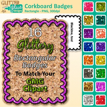 Corkboard Frame Clip Art | Rectangle Rainbow Glitter Labels for Worksheets