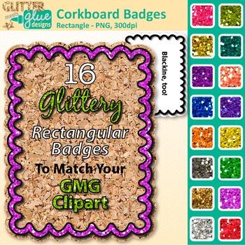 Corkboard Frame Clip Art {Rectangle Rainbow Glitter Labels