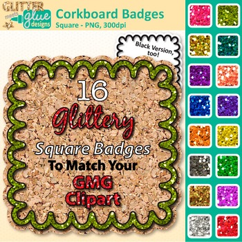 Corkboard Frame Clip Art | Square Rainbow Glitter Labels for Worksheets