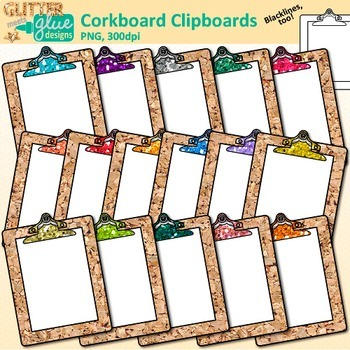Corkboard Clipboard Clip Art {Back to School Supplies for Worksheets, Resources}