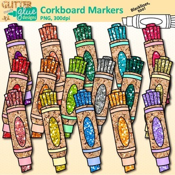 Corkboard Markers Clip Art {Back to School Supplies for Worksheets & Resources}