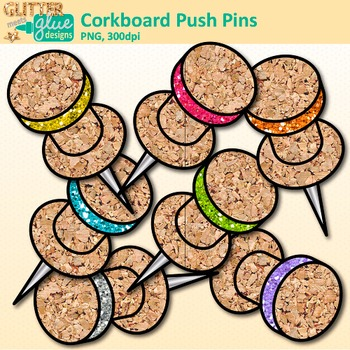 Corkboard Push Pins Clip Art {Back to School Supplies for Worksheets, Resources}