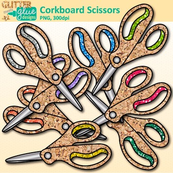 Corkboard Scissors Clip Art {Back to School Supplies for Worksheets, Resources}