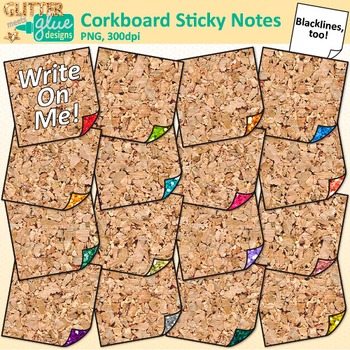 Corkboard Sticky Notes Clip Art {Back to School Supplies for Worksheets}