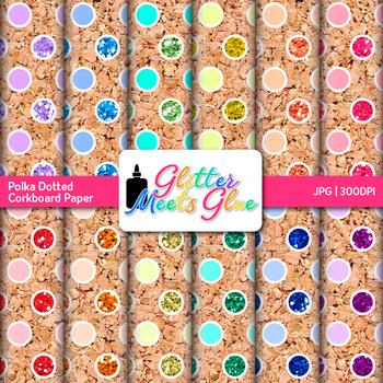 Corkboard Polka Dot Paper | Scrapbook Backgrounds for Task Cards & Class Decor
