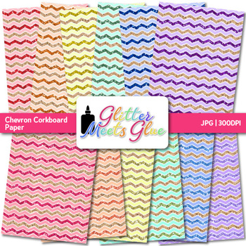 Corkboard Chevron Paper {Scrapbook Backgrounds for Task Cards, Brag Tags}