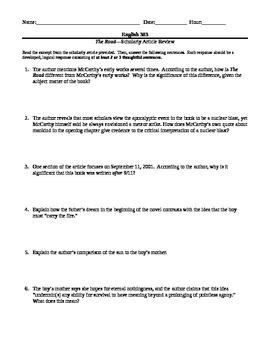 Cormac McCarthy's The Road--Scholarly Article and Guided Reading Worksheet