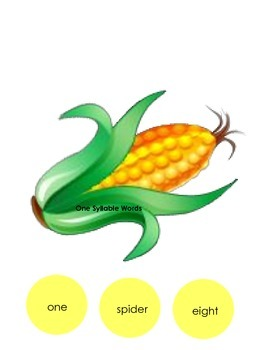Corn Kernel One, Two, and Three Syllable Sort center activity game