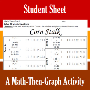 Corn Stalk - A Math-Then-Graph Activity - Solve Matrix Equations