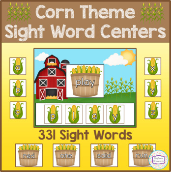 Corn Theme Sight Word Centers