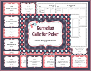 Cornelius Calls for Peter Bible Lesson Task Cards