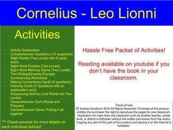 Cornelius - Leo Lionni - Book Study, No Hassle Center Comprehension Activities