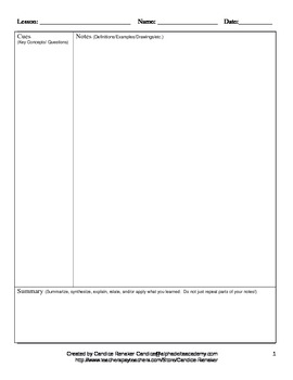 Cornell Note Outline