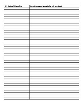 Cornell Note Reading Log Template
