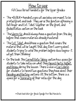 Cornell Note Taking for the Upper Grades