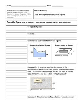 Cornell Notes: Area of Composite Figures
