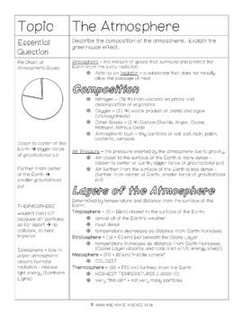 Cornell Notes Atmosphere, Hydrosphere, Biosphere