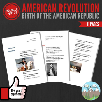 Cornell Notes (Birth of the American Republic) American Revolution