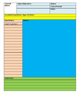 Cornell Notes Blank Template