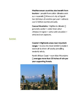 Cornell Notes (Climate & Vegetation) North Africa, Southwest Asia, Central Asia