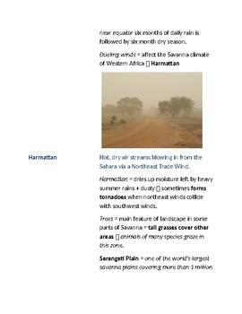 Cornell Notes (Climate & Vegetation) Sub-Saharan Africa / South of the Sahara