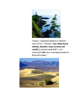 Cornell Notes (Climate & Vegetation) Tools of Geography / United States & Canada