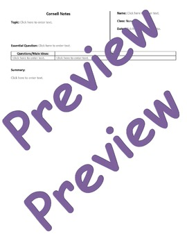 Cornell Notes Computer Template