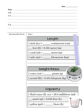 Cornell Notes Converting Between Customary and Metric