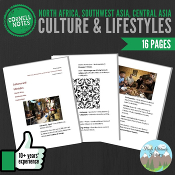 Cornell Notes (Culture & Lifestyles) North Africa, Southwest Asia, Central Asia