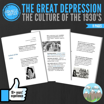Cornell Notes (Culture of the1930s) Great Depression