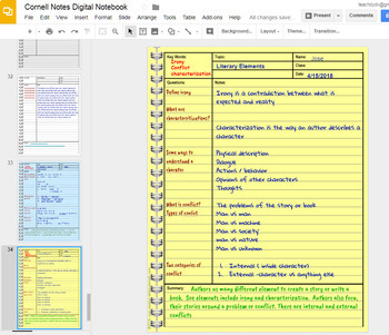Cornell Notes Digital Notebook with GOOGLE Slides™