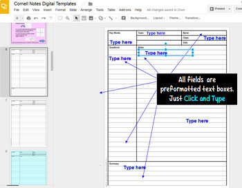 Cornell Notes Digital Templates with GOOGLE Slides™