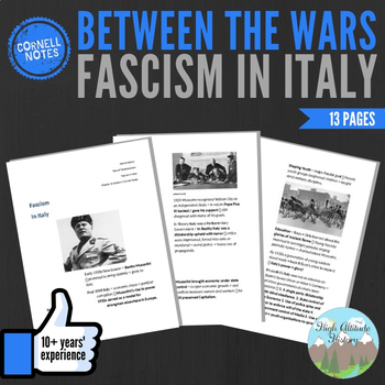 Cornell Notes (Fascism in Italy) Between the Wars