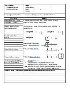 Cornell Style Notes for 6th Grade Mathematics-Fractions and Fraction Operations