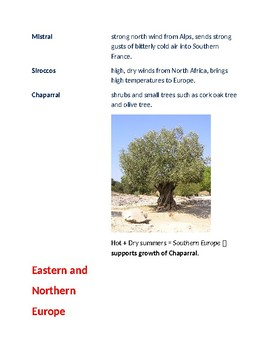 Cornell Notes Geography (Climate & Vegetation) Europe