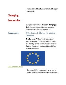 Cornell Notes Geography (Living in Europe) Europe