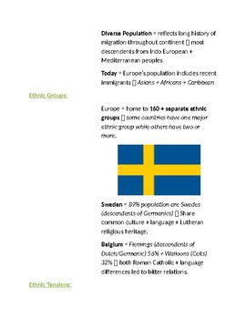Cornell Notes Geography (Population Patterns) Europe