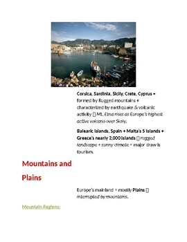Cornell Notes Geography (The Land) Europe