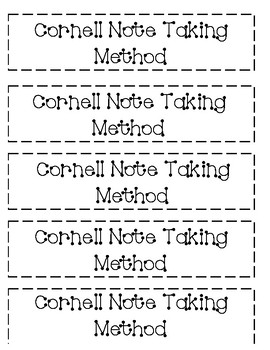 Cornell Notes Guidelines for Interactive Notebook