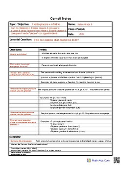 Cornell Notes Piacere with Infinitive Spanish Editable PDF