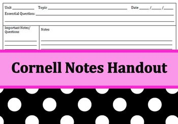 Cornell Notes Handout