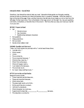 Cornell Notes Handout for Responding to Literature