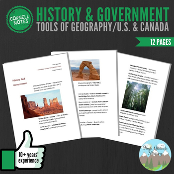Cornell Notes (History & Government) Tools of Geography / United States & Canada