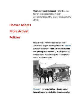 Cornell Notes (Hoover's Response Fails) Great Depression