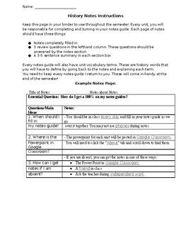 Cornell Notes Instructions