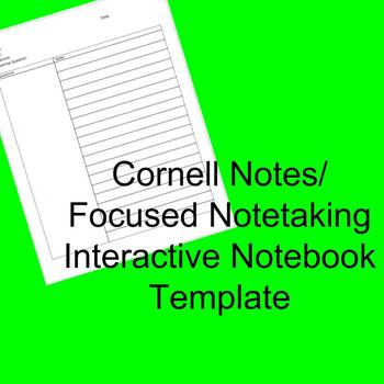 Cornell Notes Interactive Notebook Template/ Focused Notetaking *editable*