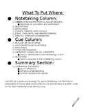 Cornell Notes Note Sheet