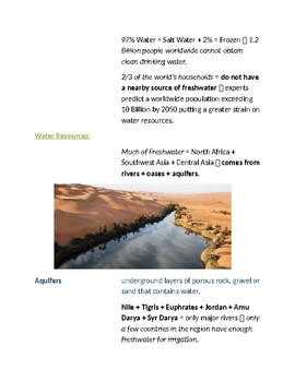 Cornell Notes (People & Environment)  North Africa, Southwest Asia, Central Asia