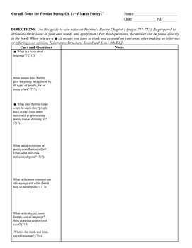 Cornell Notes: Poetry Ch 1 (What is Poetry?) AP Literature